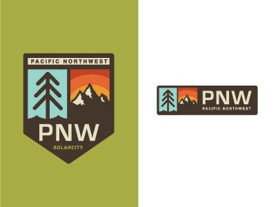 Pacific Northwest pnw tree pine mountain west is best sun retro logo sunrise vintage solarcity kysondana