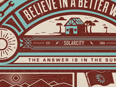 Mural mural beach solar solarpower sun flag bolt hawaii california retro vintage