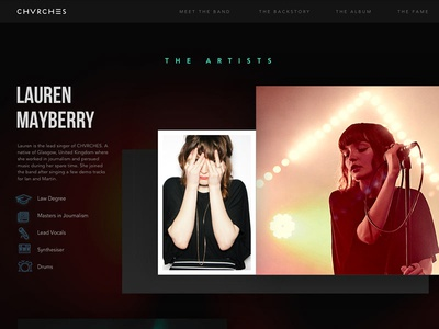 CHVRCHES Website icons scroll homepage music chvrches concert ui ux dark band grid web design