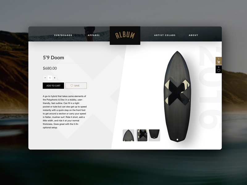 Surfboard Ecommerce cart album minimal modern commerce web design surf