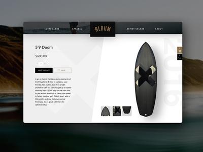 Surfboard Ecommerce cart album minimal modern commerce web design surf