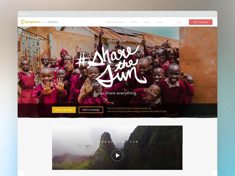 Share the Sun cta ux ui web design homepage fundraise landing website africa charity solar non-profit