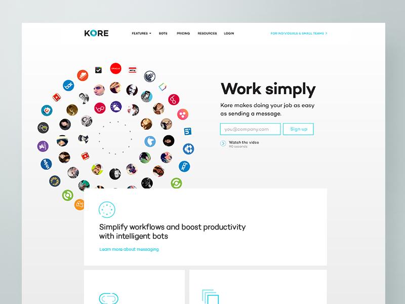 Kore website minimal light circles video sign up ui ux web design enterprise homepage landing