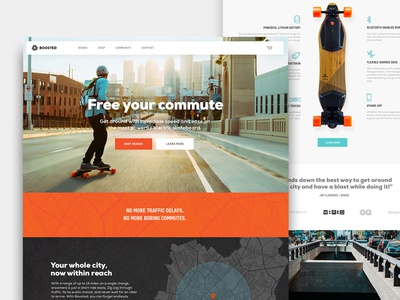 Boosted Homepage map wordpress shopify ecommerce navigation header skate board landing page homepage