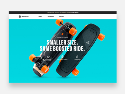 Boosted Boards Mini homepage website ux ui store shop product interaction skateboard ecommerce