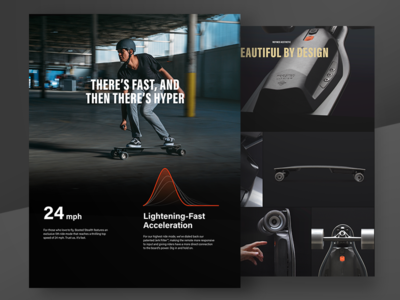 Boosted Stealth black on black graph stats storytelling shop store product web design ux dark ui boosted boards