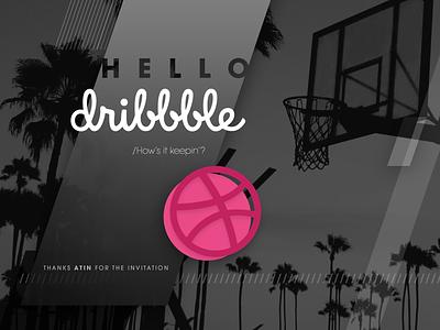 Hi Dribbble! basketball design photo background hello dribbble hello debut dribbble firstshot first shot photoshop