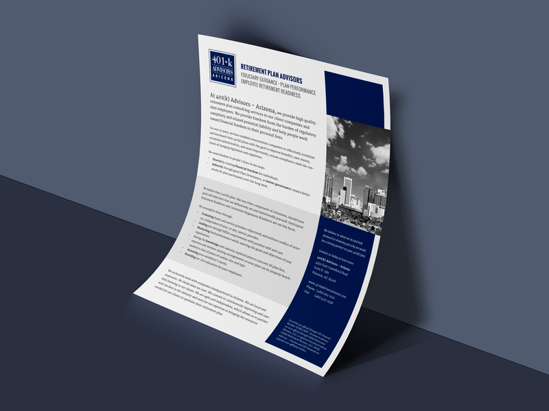 Financial Services Company Overview brochure design brochure financial services sellsheet onesheet marketing marketing collateral sales collateral layout design adobe indesign
