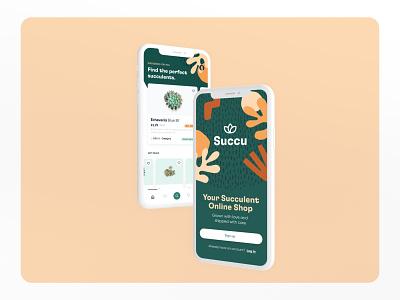 Succulent e-commerce app branding ux user interface design ui visual design
