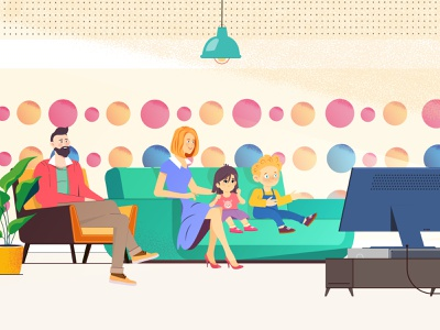 Family with children watching cartoons motion animation family guy livingroom room tv father children kids mother cartoons family illustration animation 2d animation explainer video