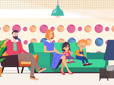 Family at home motion animation animated explainer build girl 2d character 2d animation animation characterdesign character kids clinic dental home family children explainer video