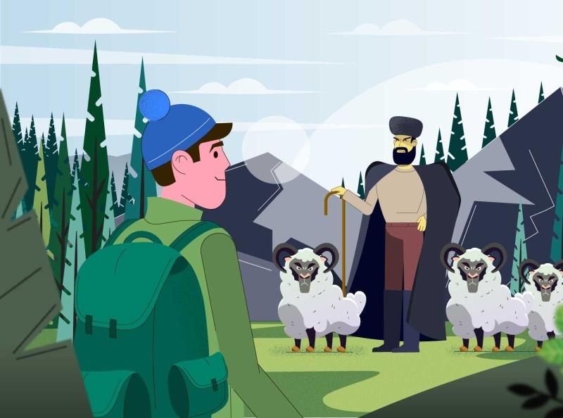 Landscape with the sheeps explainer motion animation animation illustration design vector 2d character motion design explainer video 2d animation