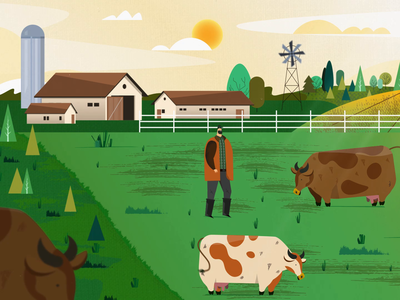 Farm with cows and farmer
