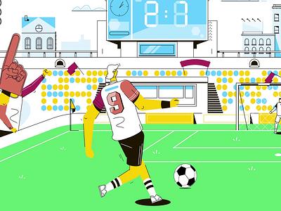 Stadium Goal goal stadium motion design charactedesign illustration 2d character motion animation 2d animation motion design explainer video animation
