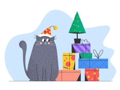 Christmas cat with the gift box