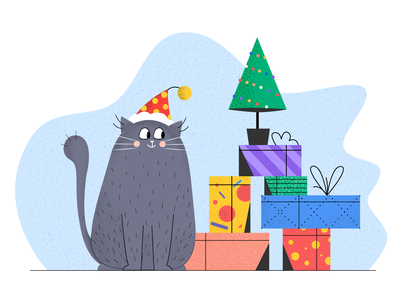 Christmas cat with the gift box 2d illustration kitty santa shadow design happy new year gift illustration christmas tree gift box cat christmas new year explainer video 2d animation
