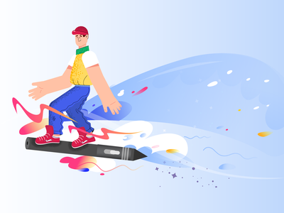 Surfing the world of animation color graphic wave teenager man 2d character motion animation motion design animation explainer video world surf surfing