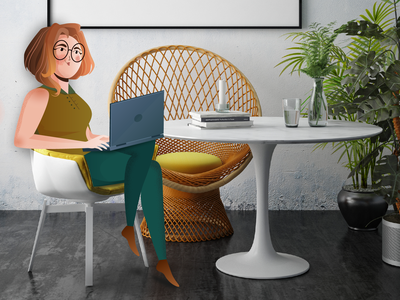 Office workflow photo gradient people human logo woman character 2d character cabinet office space livingroom room freelance notebook workflow workspace office work girl explainer video