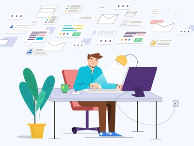 KPI and business process analysis 2danimation finance analytic grow developer man explainervideo animation vector illustration office graphic email form analysis kpi business