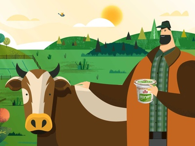 Farmer stands next to a cow motion animation 2d character explainer motion design animation 2d animation explainer video ranch man milk farm farmer cow