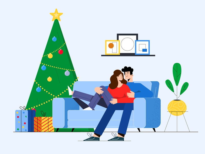 Family near the Christmas tree illustration couple boyfriend motion animation motion design vector 2d character 2d animation explainer video winter holidays love new year christmas tree