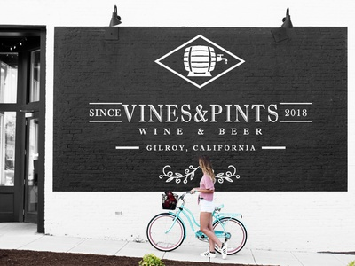 VINES & PINTS (TM) mockups bar brewery wine beer vector logo design black and white branding logo mark design logo