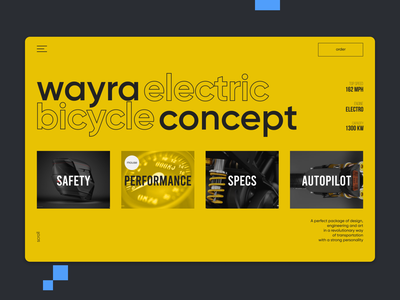 Wayra Electric Website concept ecommerce uxdesign yellow trendy moto motorcycle web design uxui ux webdesign