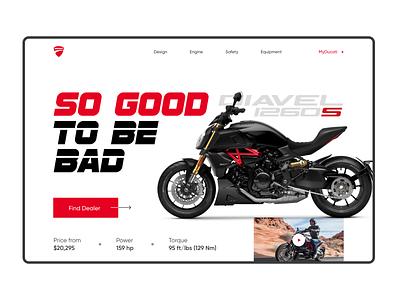 Ducati Diavel Motorcycle promo screen italy uxuidesign site sport bike moto branding design webdesign ui uxui