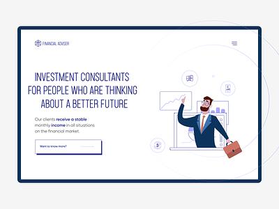 Financial Advisers Website landing interactive uxdesign financial flat vector uxui illustration finance webdesign ux