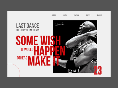 Last Dance Series website sports design new movie portrait photo sport typography minimal uxui ux