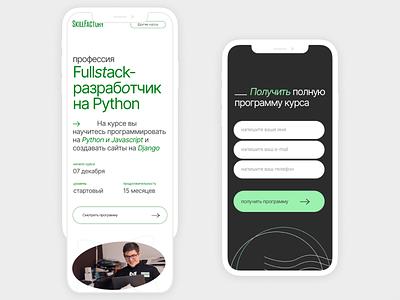 Website for Python Dev online course landing uxdesign grid design minimal typography mobile design mobile uxui