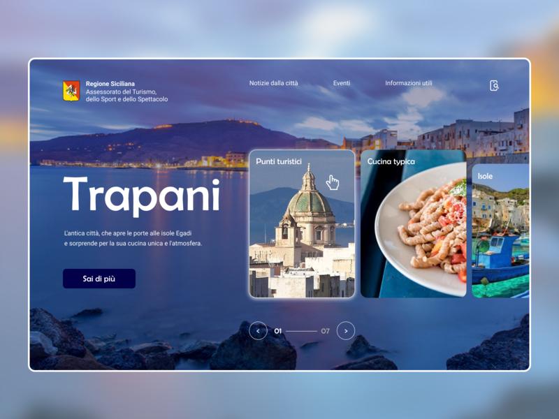 Concept screen Trapani (Sicilia) city portal europe blue ux  ui tourism travel design webdesigner webdesign sicily italy