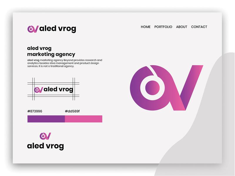 aled vrog-logo for marketing agency revolve letter hexagon hexa fast around advance abstract a v logo logo