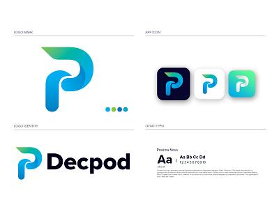 Decpod modern logo and brand identity design minimalist minimal logomaker gradient logo brandmark construction e-commerce logodesigner corporate dp letter logo dp letter p d logos modern logo modernlogo appicon app