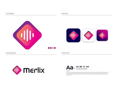 MERLIX MODERN GRADIENT LOGO DEISGN logomaker gradient logo brandmark construction e-commerce logodesigner corporate logos technology modern appicon app logo modernlogo minimalist minimal