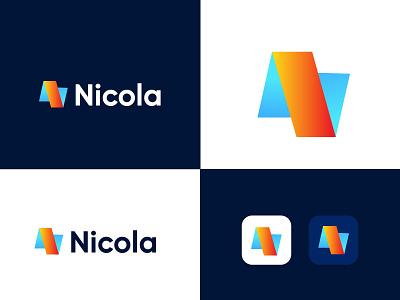Nicola modern N letter logo design gradient logo brandmark construction e-commerce logodesigner corporate n letter logo n letter n logos technology modern appicon app modernlogo minimalist minimal logo design logo