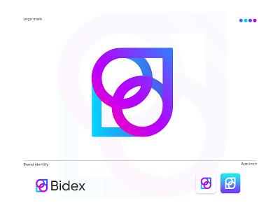 Bidex  modern logo design elegant logomaker gradient logo brandmark construction e-commerce isometric logodesigner corporate logos technology appicon app modernlogo minimalist minimal logo design modern logo grdient