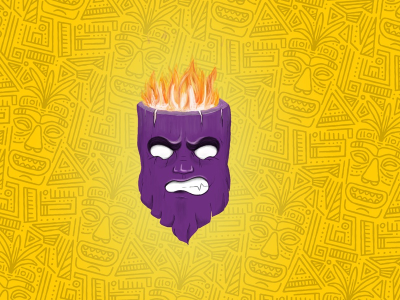 Voodoo mask illustration handmade hand drawn magic anger angry fire emotions emotion wooden wood tiki mask black magic mask design illustration
