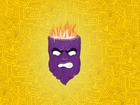 Voodoo mask illustration handmade hand drawn magic anger angry fire emotions emotion wooden wood tiki mask black magic mask design illustration