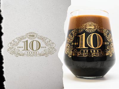 10th Year Anniversary Glass glassware