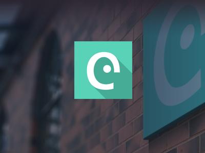 Potential new branding for eSterling branding flat long shadow logo