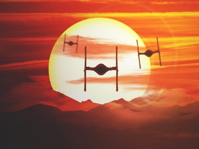 Recreation of the TIE Fighter Sunset from The Force Awakens photoshop force awakens star wars digital art