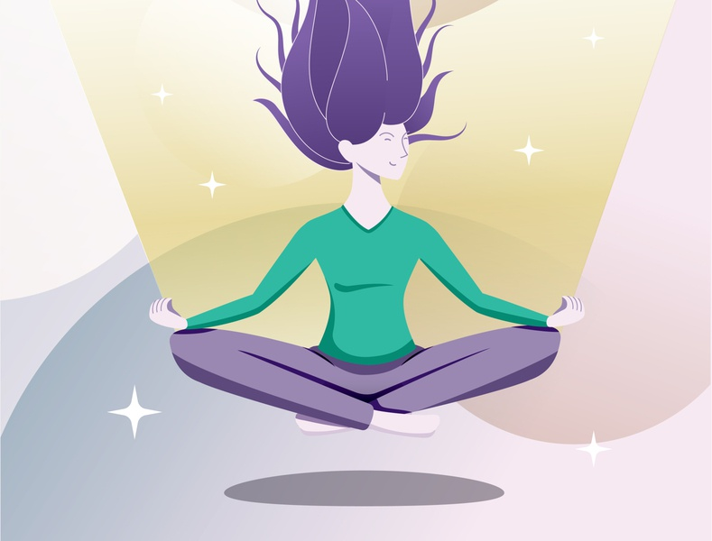 Girl Meditating covid-19 workfromhome dream levitation wellness wellbeing relax innerpiece yoga duik charachter design rig duik bassel vector animation after affects illustration xav motion