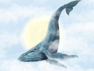 Flying Whale redbubble frame wallart surrealism surreal art animalism animalillustration whale design illustration