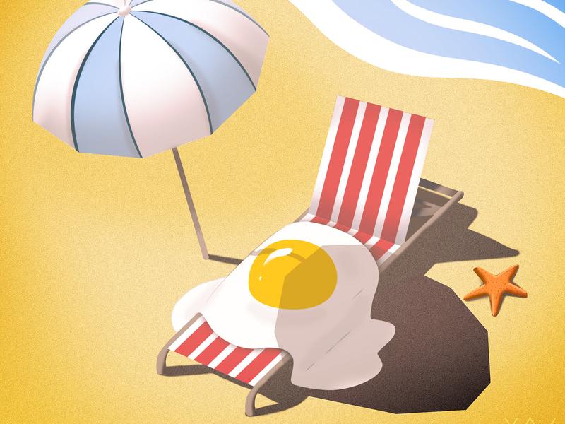 Summer Heat funny holiday umbrella shadow sunny sunburn heat egg summer beach xav branding vector design illustration