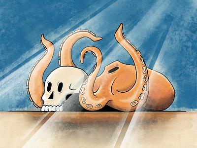 Deep Sea Friendship sailor original art quirky skull octopuss ocean deepsea water adobe fresco inktober2020 inktober branding charachter design vector animation after affects design motion illustration xav