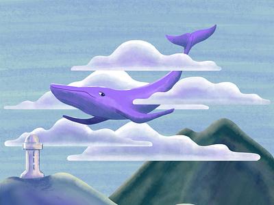Inktober whale surrealism sky whale concept digital painting adobe fresco design charachter design animation motion illustration xav