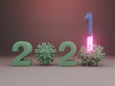 Slamming into the new year! happy new year virus new year 2021 2020 blender 3d blender eevee 3d art 3d branding after affects illustration design animation motion xav