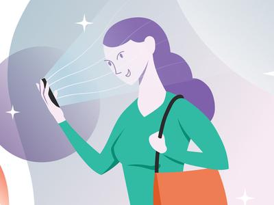 Girl on Phone digital art digital illustration drawing smartphone phone instagram socialmedia girl branding duik rig charachter design design vector illustration xav motion