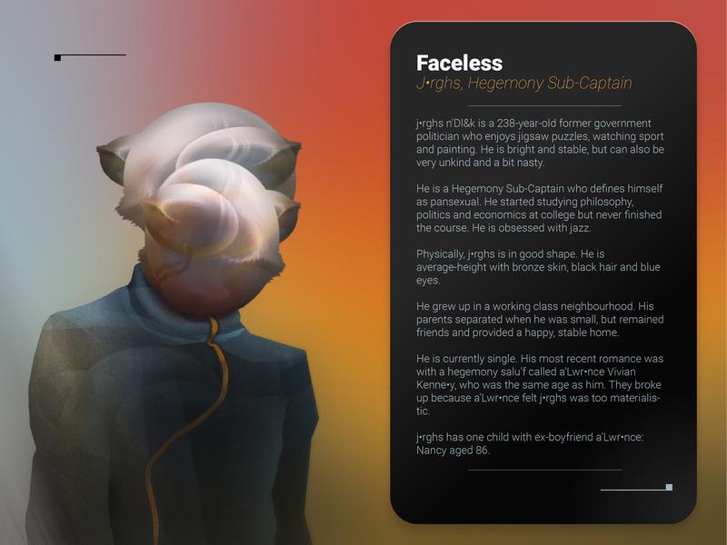 Faceless A0 gimp character sci-fi 2d